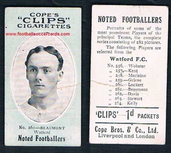 1908 Cope Brothers Noted Footballers 282 series #261 Beaumont Watford
